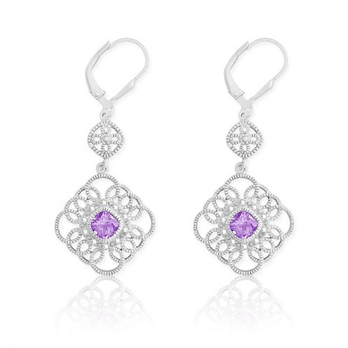 DIAS WITH CENTER AMETHYST SQUARE EAR D-5117