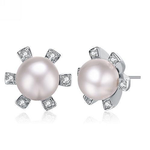 Sterling Silver Pearl With Clear Cubic Zirconia Earrings EAR956