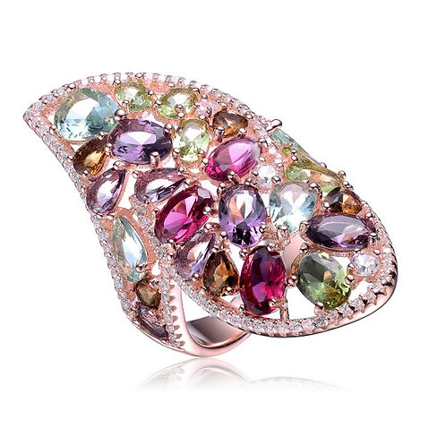 Sterling Silver with Rose Plated Multi Colored/Shaped Ring CSR-R9940-DM-ROSE