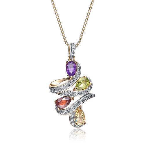 Sterling Silver Genuine Stone Twirl Necklace CSN-GP1735