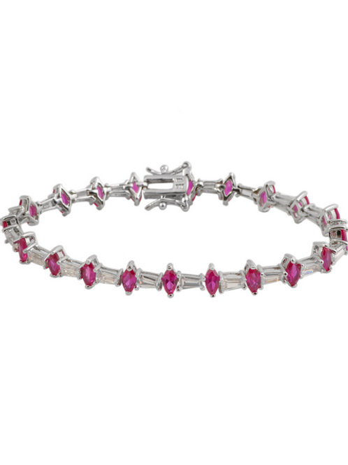 C.Z. Sterling Silver Rhodium Plated Ruby Marquise Bracelet TCB-BR3032