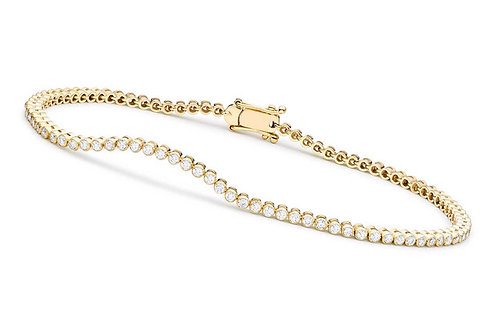 Gold plated Round Bezel-set Bracelet CL-BBR2090-3MM-GP