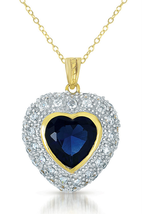 Sterling Silver Two Toned Sapphire Heart Pendant TCSN-pen340-saph