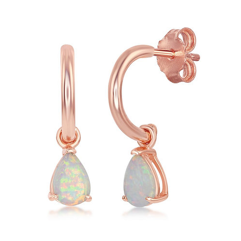 Sterling Silver Rose Plated Pear-Shaped White Inlay Opal CL-D-7175-RG