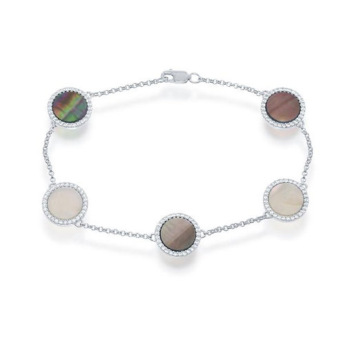 """Sterling Silver 7.5"""" Round Abalone Bracelet CSB-T-7341"""