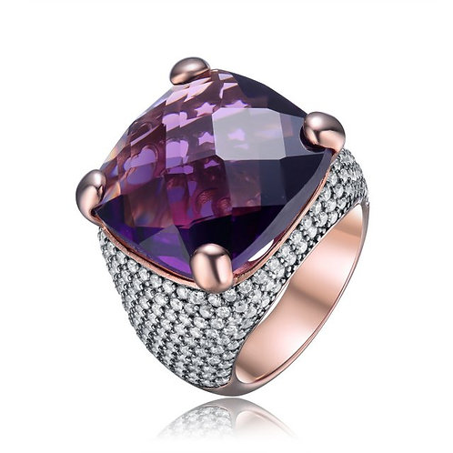 Sterling Silver / Rose Gold Plated Amethyst Cushion W/ Pave Dome Ring CSR-R1636