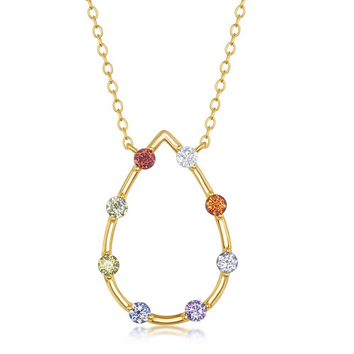 Sterling Silver Gold Plated Rainbow Open Teardrop-Shaped Necklace CL-M-6234
