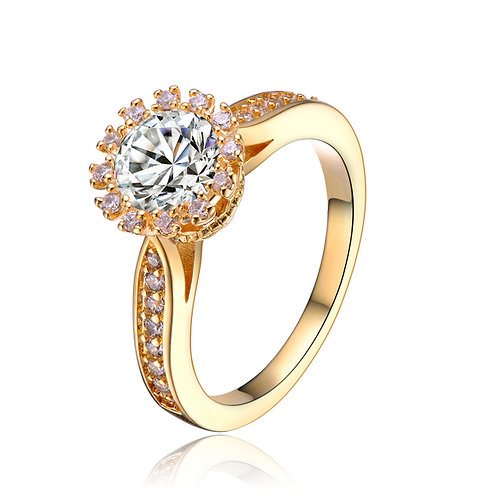 CZ Sterling Silver Fancy Gold Plated Ring R2161-GP