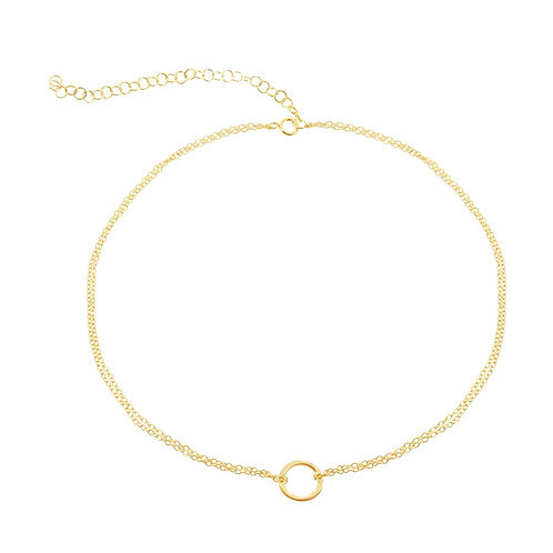 Sterling Silver Double Strand with Center Open Circle Choker CSN-L-3880-GP