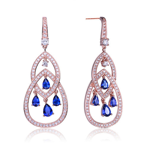 Sterling Rose Plated Sapphire Teardrop Chandelier Earrings TSE-EAR675-S-ROSE