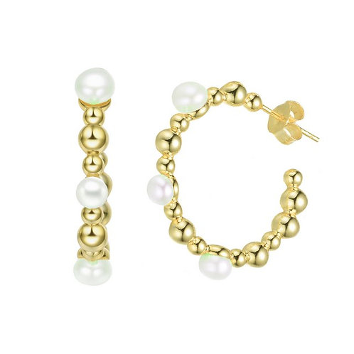 Sterling Silver with Gold Plated and 5MM Fresh Water Pearl Ear. CSE-FPEAR9547-GP