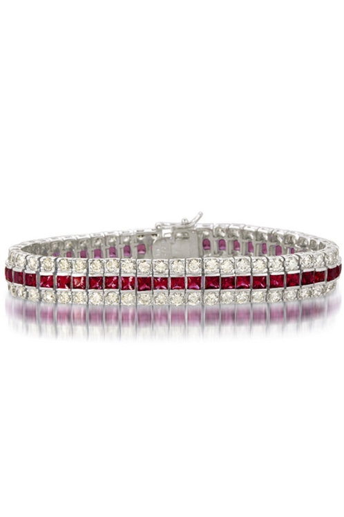 C.Z. Sterling Silver Rhodium Plated Ruby Bracelet BR1455-R