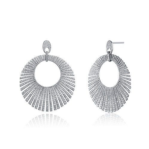 CZ SS Rhodium Plated Large Circle Drop Earrings EAR9860