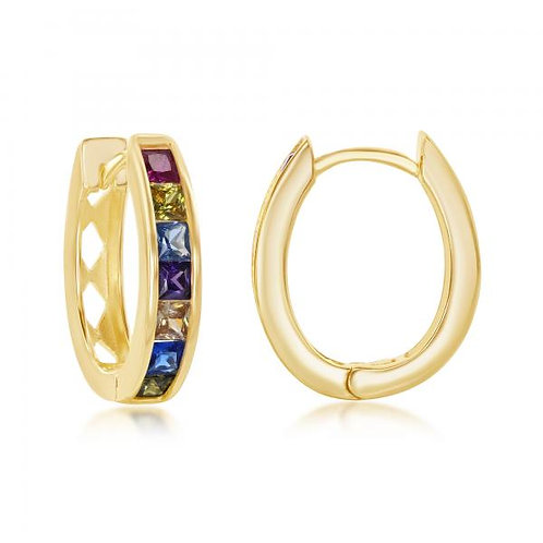 Sterling Silver Gold Plated Chanel-Set Rainbow Oval Earrings CSE-D-7089-GP