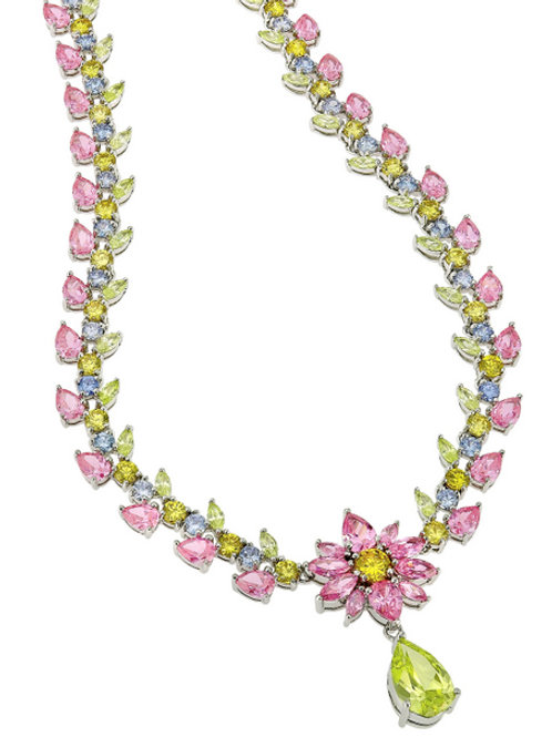 Sterling Silver Rhodium Plated Multi Color Floral Necklace TSN-NEC1306