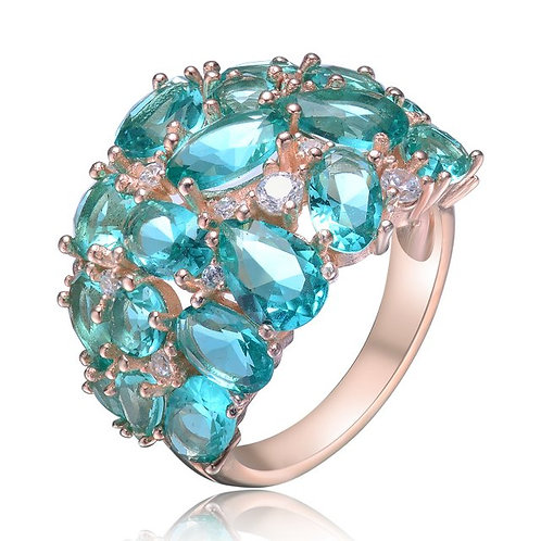 Sterling Silver with Rose Gold Plated Aqua Blue Stone Ring TCSR-R9988-AQ-ROSE