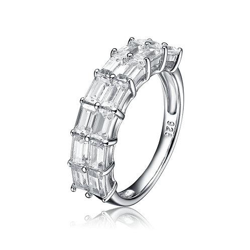 Cz Ring With Straight Baguettes R1089