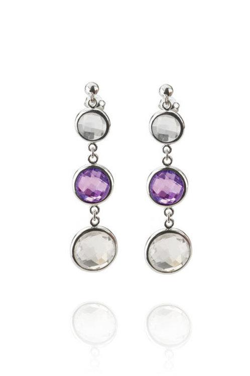 C.Z. Sterling Silver Blue Topaz Gem Drop Earrings GE6170-A