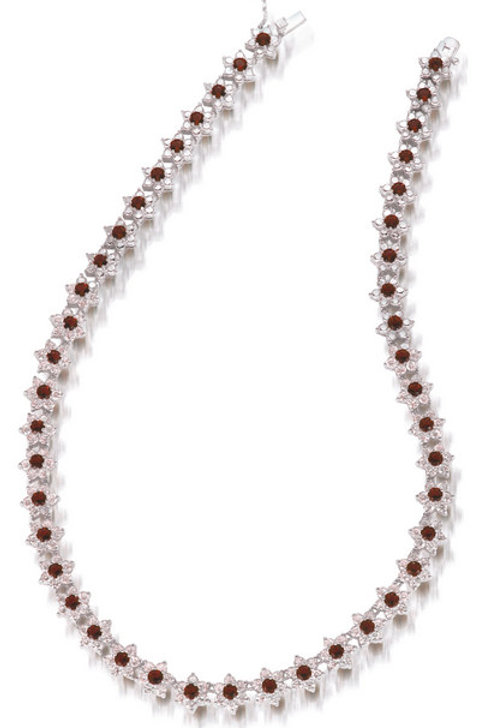 C.Z. Sterling Silver Rhodium Plated Ruby Flower Necklace NEC642-r