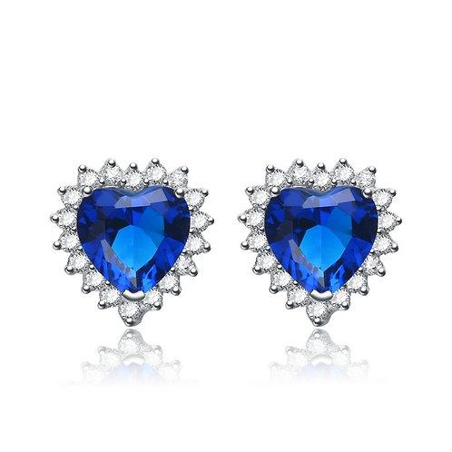 Sterling Silver Rhodium Plated Sapphire Heart Shape Earrings TC-EAR5490