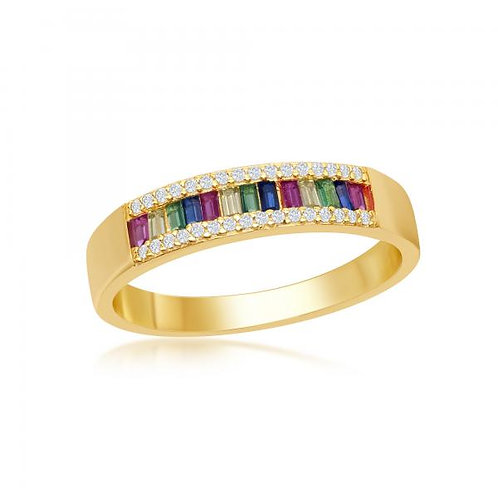 Sterling Silver Rainbow 2mm Eternity Band Ring CSR-W-2139