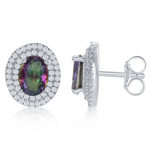 Sterling Silver Oval Simulated Mystic Topaz Earrings CL-D-6307