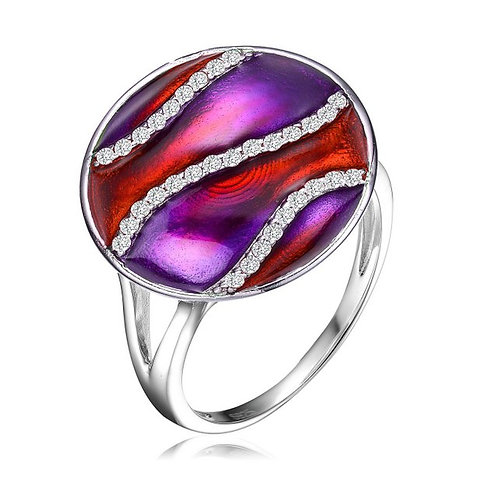 Sterling Silver Purple / Red Swirl Enamel Glass Ring CSR-R6557-R