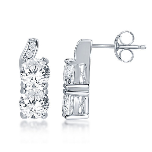 """Sterling Silver """"Us2gether"""" Square Earrings CL-D-6100"""