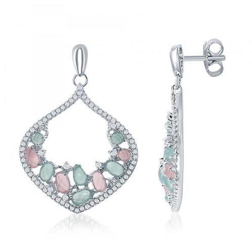 Tear Drop with Aqua and Pink Milky Stone Earrings TSE-D-6253
