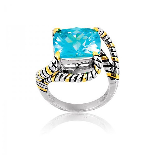 CZ RING 2 tone Cable Ring W-9552
