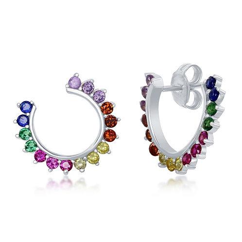 Sterling Silver Rainbow Open Hoop Stud Earrings CL-D-7137