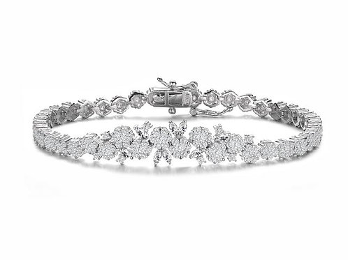 Sterling Silver with Rhodium Plated Marquise/Rnd Stone Bracelet  TB-BR3245