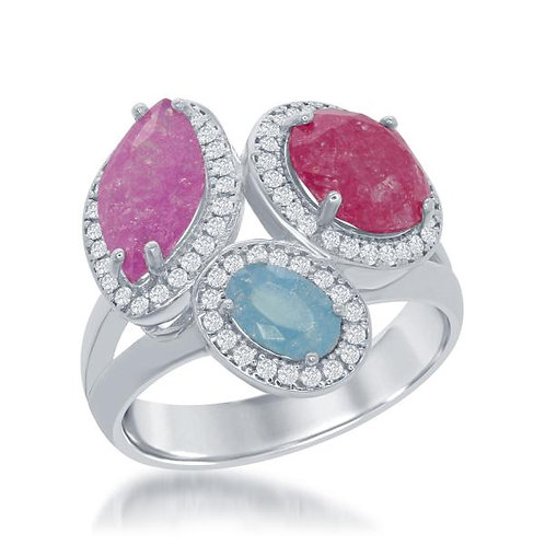STERLING SILVER ICE W/ CZ RING W-1388