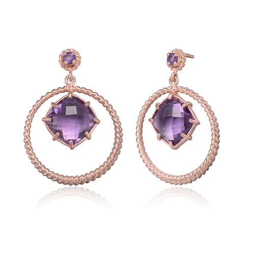 Rose Gold Overlay Simulated Amethyst Stone Earrings CSE-GE2480-A