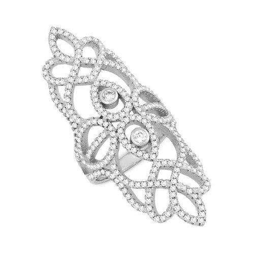 Sterling/Rhodium Long Pave`Set Ring CSR-W-1226