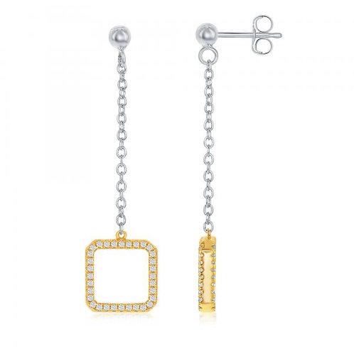 Sterling Silver Reversible Two Toned Drop Earrings CSE-D-6541-TT