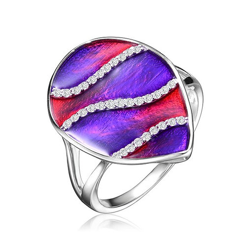 Sterling Silver Purple Swirl Enamel Glass Pear Cocktail Ring CSR-R6556-R