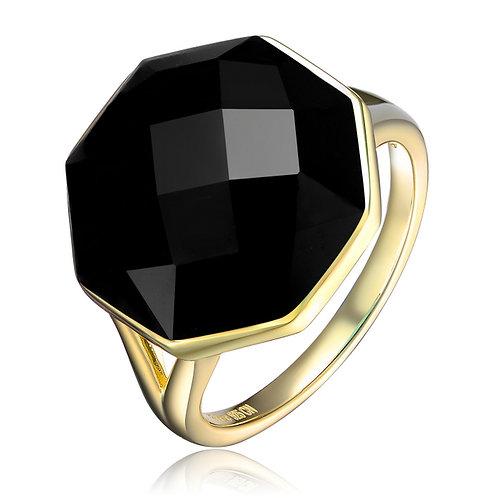 Gold Overlay Black Octagon Ring CSR-R3262-BLACK
