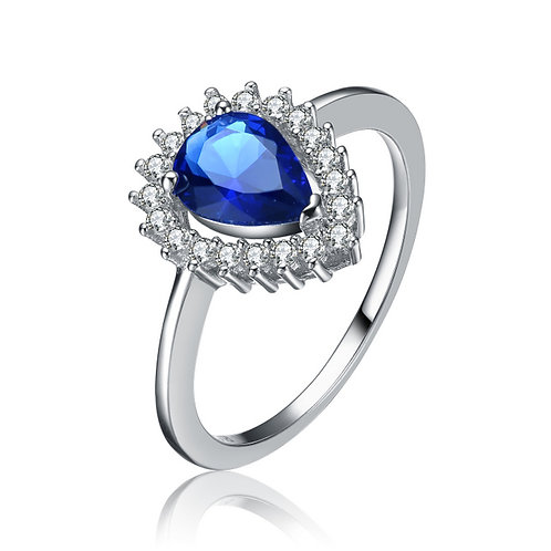 Sterling Silver Pear Shaped Sapphire Stone Ring TCR-R7120