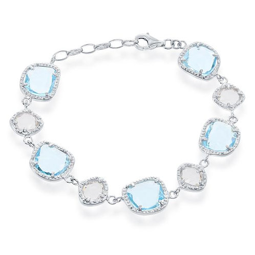 Sterling Silver Blue and White Stones Bracelet CSB-T-7327