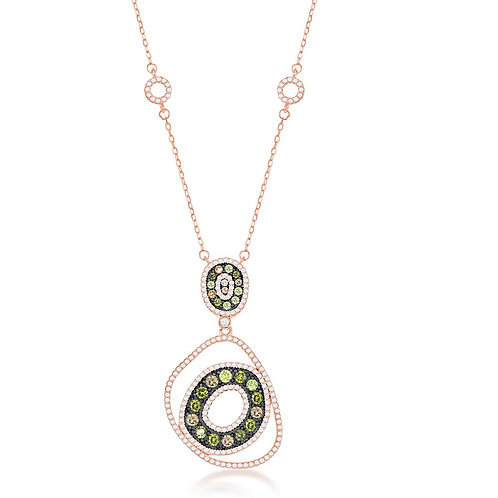 Sterling Silver RG with White, Champagne & Yellow Stone Necklace  CSN-M-6130