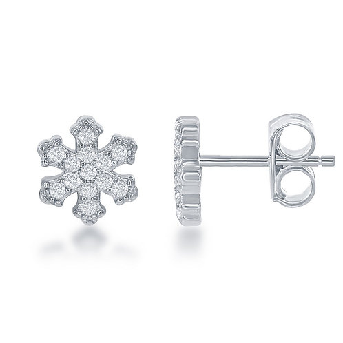 Sterling Silver Small Snowflake Stud Earrings CL-D-6330