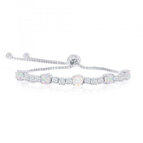 Sterling Silver Alternating White Opal Adjustable Bolo Bracelet TCB-T-7557