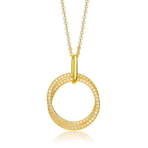 Interlocking Circle Gold Toned Pendant TCSN-NEC6216-GP