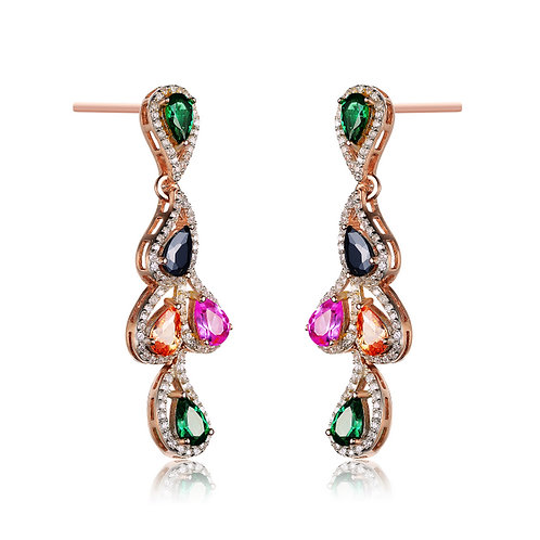 Sterling Silver Rose Plated Multi Color Earrings CSE-EAR8099