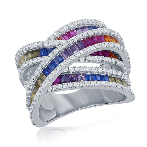 Sterling Silver Rainbow Baguette Double Crossover Ring CSR-W-2435