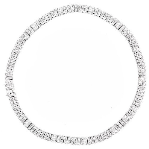 C.Z. Sterling Silver Rhodium Plated Heavy Necklace NEC1398-CZ