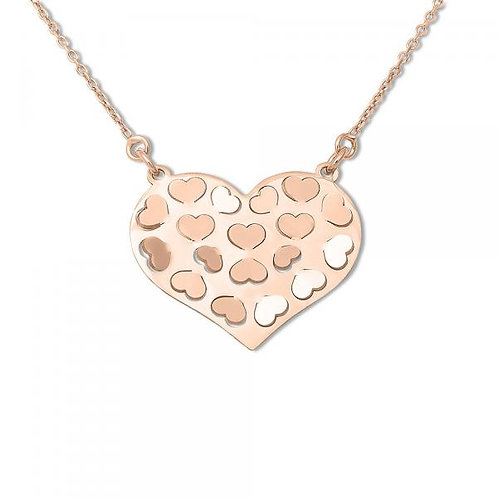 Sterling Silver Rose GP Partially Cut Out Heart Necklace CSN-L-3696