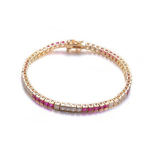 Gold Plated Princess Cut Ruby/White Stone Tennis Bracelet CSB-BR1807-R-GP