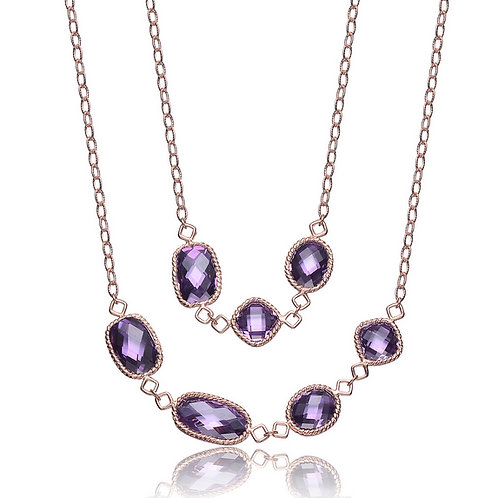 Gorgeous Rose Toned Amethyst Stone Necklace CSN-NEC3068-36